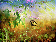 Tiger Swallowtail Digital Art Posters - Wishing to Soar Like a Birds-Featured in Comfortable Art-Newbie-Nature Wildlife Groups Poster by EricaMaxine  Price