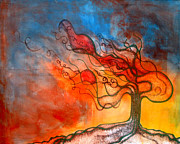 Tree Roots Painting Posters - Wishing Tree Poster by Nikol Wikman