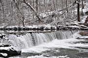 Wissahickon Waterfall In Winter Print by Bill Cannon