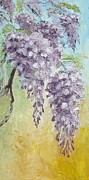 Pallet Knife Prints - Wisteria and Gold Print by Mary Rogers