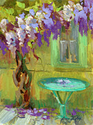 Garden Scene Originals - Wisteria At Hotel Baudy by Diane McClary