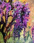 Wisteria Mixed Media Prints - Wisteria Modern Decor Print by Ginette Callaway