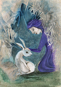 Flying Witch Prints - Witch and Hare Print by Maria Forrester