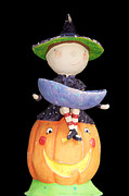 Halloween Posters - Witch and Pumpkin  Poster by Aimee L Maher