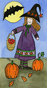 Pumpkins Paintings - Witch and Pumpkins by Norma Appleton