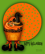 Halloween Card Mixed Media Posters - Witch Cupcake 2  Poster by Carol Cavalaris