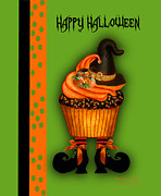 Halloween Card Mixed Media Posters - Witch Cupcake 3  Poster by Carol Cavalaris