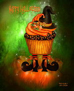 Halloween Card Mixed Media Posters - Witch Cupcake 4  Poster by Carol Cavalaris