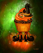 Halloween Card Mixed Media Posters - Witch Cupcake 6 Poster by Carol Cavalaris