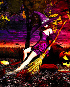 Autumn Trees Mixed Media Prints - Witch in the Punkin Patch Print by Bob Orsillo