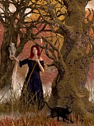 Witch Halloween Cat  Wicca Metal Prints - Witch of the Autumn Forest  Metal Print by Daniel Eskridge