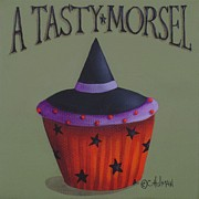 Halloween Folk Art Posters - Witches Hat Tasty Morsel Cupcake Poster by Catherine Holman
