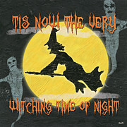 Scary Painting Posters - Witching Time Poster by Debbie DeWitt