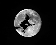 Flying Witch Prints - Witchy Moon Print by Al Powell Photography USA