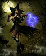 Lightning Bolts Digital Art Posters - Witchy Woman Poster by Suzanne Amberson