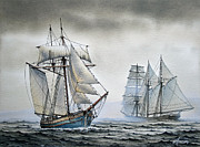 Sailing Vessel Print Metal Prints - With a Fair Wind Metal Print by James Williamson