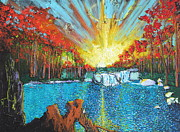 Sun Rays Painting Originals - With A Thread Of Faith by Stefan Duncan