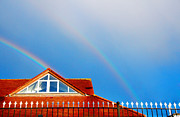 Red Roof Prints - With Double Bless of Rainbow Print by Jenny Rainbow