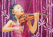 Violins Paintings - With Feeling by Jenny Armitage