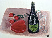 Wine Glasses Paintings - With Love by Victoria Lakes