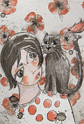 Drawing Of Lovers Metal Prints - With my cat Metal Print by Itzi Hdo