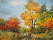 With Sheep On Pasture  Print by Sorin Apostolescu