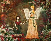 Angel Mixed Media Originals - With The Angels Christmas Mixed Media Folk art Painting by Janelle Nichol
