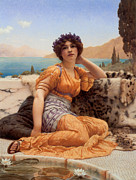 Goddess Of Beauty Posters - With Violets Wreathed and Robe of Saffron Hue Poster by John William Godward