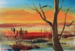 Amazing Sunset Painting Framed Prints - Withered Tree Framed Print by Remegio Onia