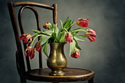 Antique Table Framed Prints - Withered Tulips Framed Print by Nailia Schwarz