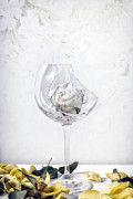 Wine Glass Posters - Withered White Rose Poster by Joana Kruse