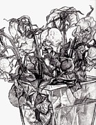 Blake Drawings Prints - Withering Roses 2012 Print by Blake Grigorian