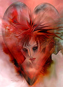 Romantic Art Posters - Within A Glass Heart Poster by Carol Cavalaris