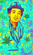 Drawings Of Wiz Khalifa Prints - Wiz Khalifa Drawing In Line Print by Kenal Louis