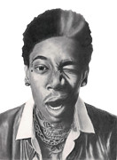 Steelers Drawings - Wiz Khalifa by Michael Durocher