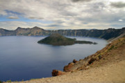 Crater Lake Posters - Wizard Island - Crater Lake Oregon Poster by Christine Till