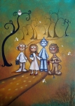 Cowardly Lion Posters - Wizard of Oz Art - Yellow Brick Road Poster by Charlene Zatloukal