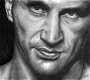 Boxer Drawings Framed Prints - Wladimir Klitschko. Framed Print by Carl Moore