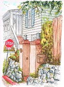 Boxes Painting Originals - wo pillars and a mail box in Mt. Olympus - Hollywood Hills - California by Carlos G Groppa
