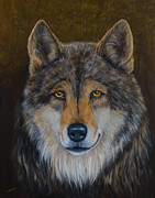 Wolf Portrait Paintings - Wolf Alpha by Nancy Lauby