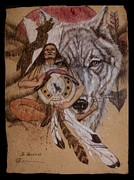Indian Pastels Prints - Wolf And Shaman  Print by Pamela Mccabe