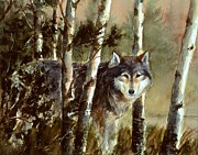 Wolf Artist Painting Posters - Wolf At the Waters Edge Poster by Robert Stump
