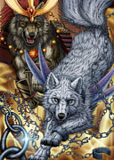 Dogs Digital Art Originals - Wolf brothers by Melinda Blaze Design Studio