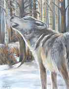 Wildlife Landscape Paintings - Wolf by Cher Devereaux
