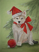 Christmas Card Pastels Originals - Wolf Cub for Christmas by Teresa LeClerc