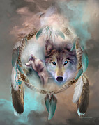 Dreamcatcher Posters - Wolf - Dreams Of Peace Poster by Carol Cavalaris