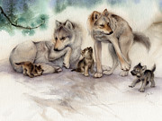 Wolf Painting Posters - Wolf Family Poster by Tracy Herrmann