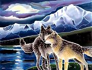 Yellowstone Paintings - Wolf Greeting by Harriet Peck Taylor