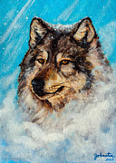 Snow Dog Mixed Media Posters - Wolf in a Snow Storm Poster by Nadine and Bob Johnston