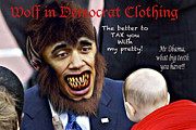 Barack Obama Digital Art Posters - Wolf in Democrat Clothing Poster by Steven Love
